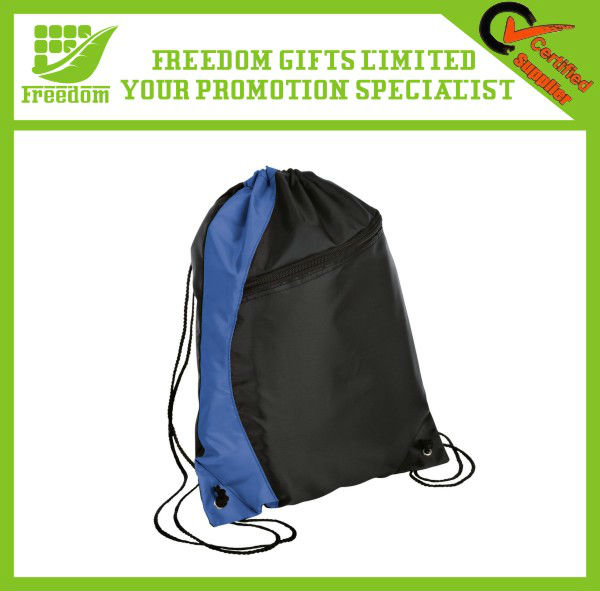 Two Color With Zipper Cotton Drawstring Bags