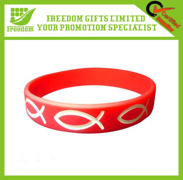 Debossed Color Filled Cheap Silicone Wrist Band