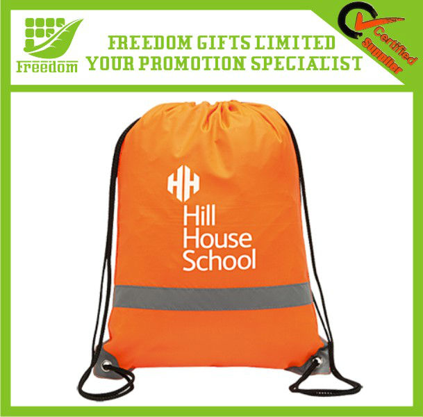 Retangular Reflectiing Safety Drawstring School Bag