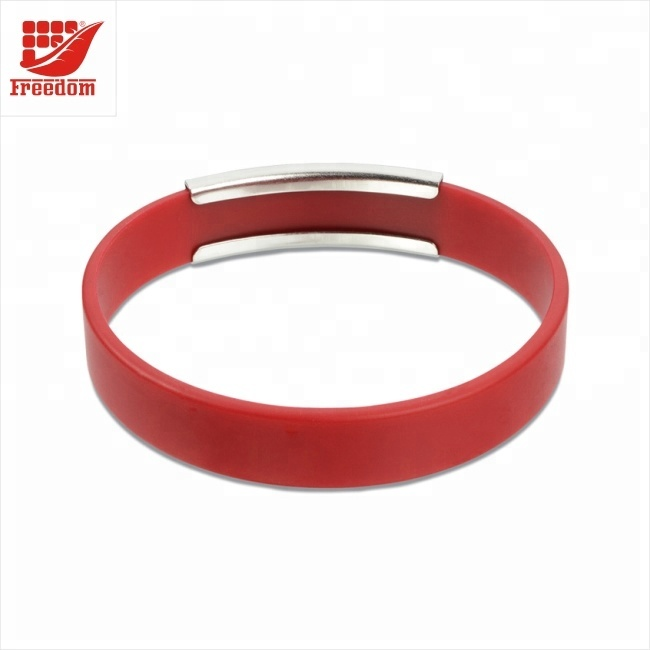 Freedom Gifts Metal Silicone Wristband