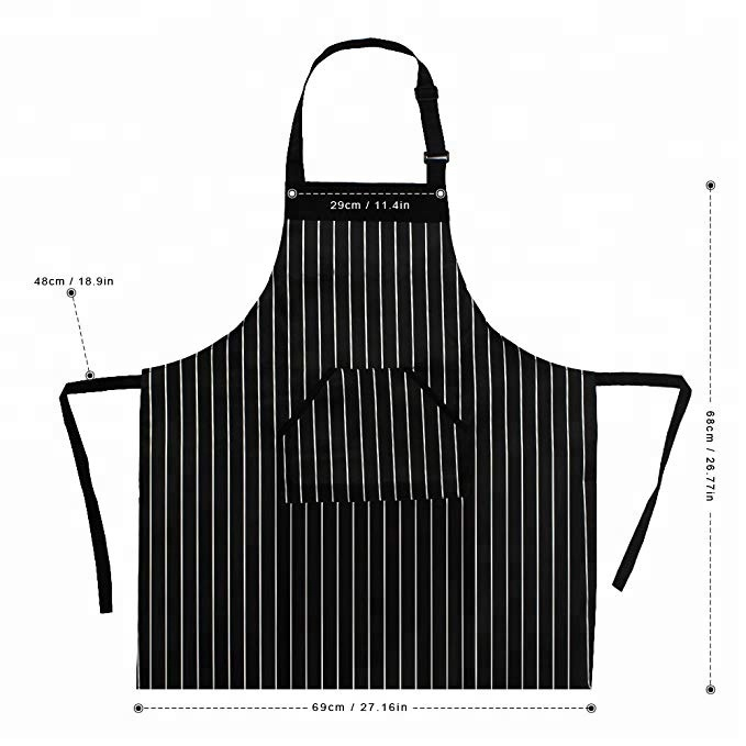 Good Quality White and Black Stripes Apron